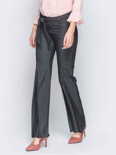 Серые брюки на молнии со встречными складками 18860, фото 2