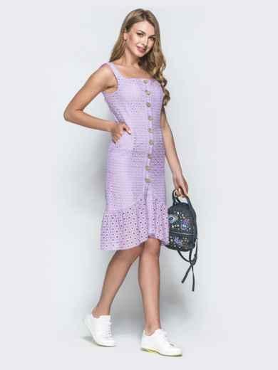Сиреневое платье из прошвы с удлиненной спинкой 38704, фото 2