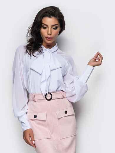 Легкая блузка из креп-шелка с воротником аскот 12355, фото 1
