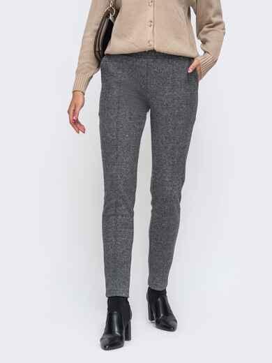 Серые брюки из жаккарда с простроченными стрелками - 50348, фото 1 – интернет-магазин Dressa