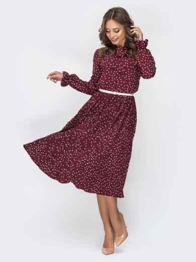 Бордовое платье в горох с воротником-аскот и юбкой-плиссе 44828, фото 2