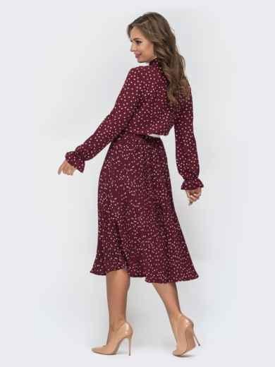 Бордовое платье в горох с воротником-аскот и юбкой-плиссе 44828, фото 3