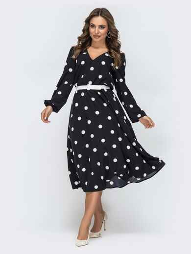 Платье в горох с резинкой по талии чёрное 45073, фото 1