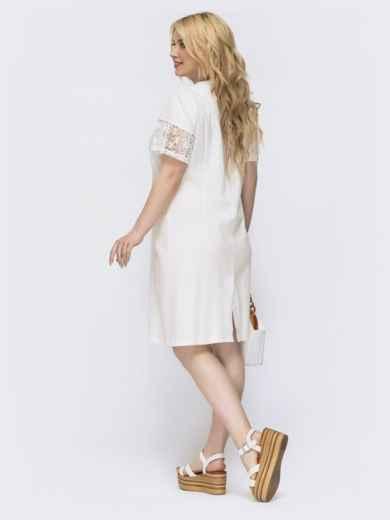 Приталенное платье батал с ажурными вставками молочное 46144, фото 2