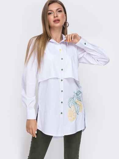"""Рубашка с вышивкой """"лимоны"""" и разрезами по бокам белая 49470, фото 1"""