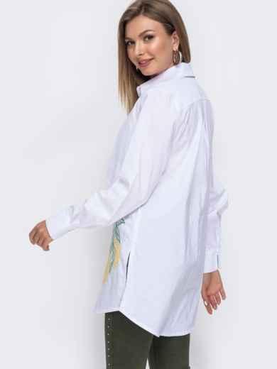 """Рубашка с вышивкой """"лимоны"""" и разрезами по бокам белая 49470, фото 2"""