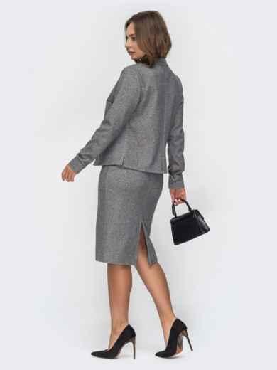 Серый комплект из жакета и юбки-карандаш 44989, фото 2