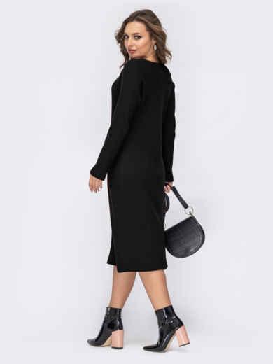 Чёрное платье батал приталенного кроя 44194, фото 2
