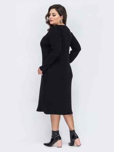 Чёрное платье батал приталенного кроя 44194, фото 3