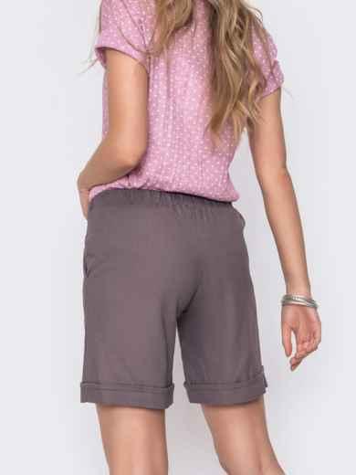 Льнянные шорты графитового цвета с резинкой по талии 48174, фото 2