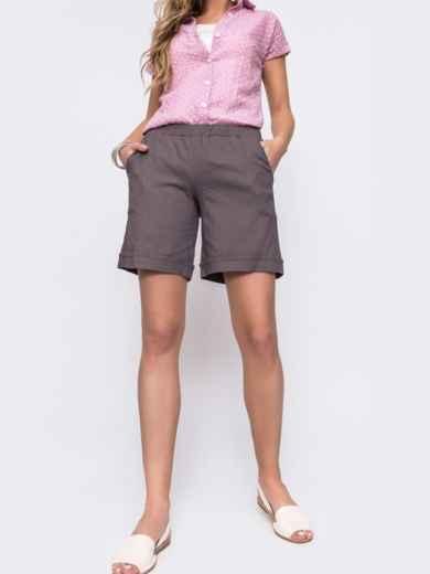 Льнянные шорты графитового цвета с резинкой по талии 48174, фото 3