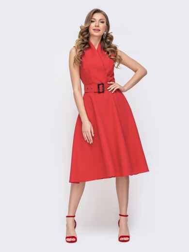 Расклешенное платье красного цвета с поясом 46614, фото 1