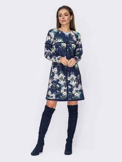 Темно-синее платье-трапеция с цветочным принтом 52673, фото 1