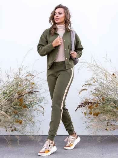 Комплект с брюками-джоггерами и жакетом хаки 40658, фото 2