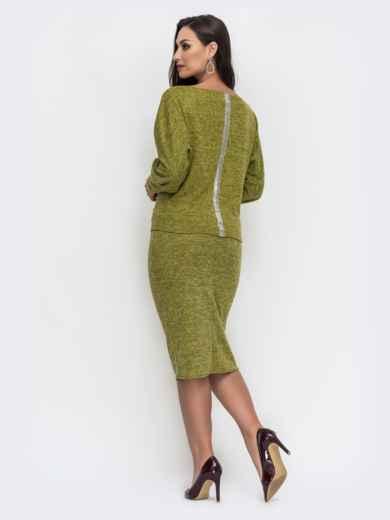 Зеленый комплект большого размера из кофты и юбки 44487, фото 2