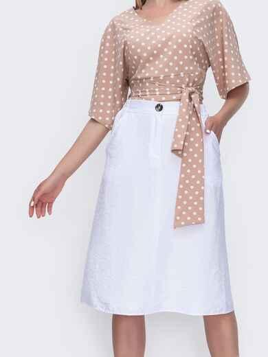 Белая юбка-трапеция на молнии 49364, фото 1