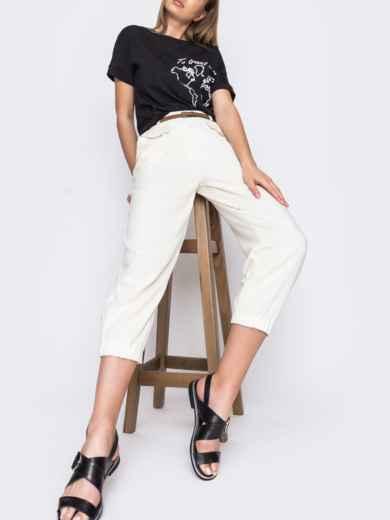 Укороченные брюки с завышенной талией молочного цвета  48437, фото 2