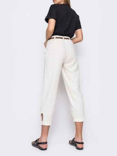 Укороченные брюки с завышенной талией молочного цвета  48437, фото 3