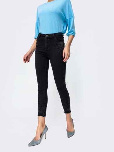 Чёрные джинсы со стразами и завышенной талией 44060, фото 2