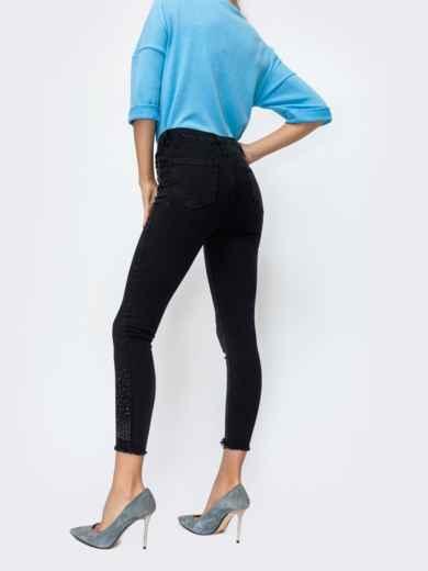 Чёрные джинсы со стразами и завышенной талией 44060, фото 3