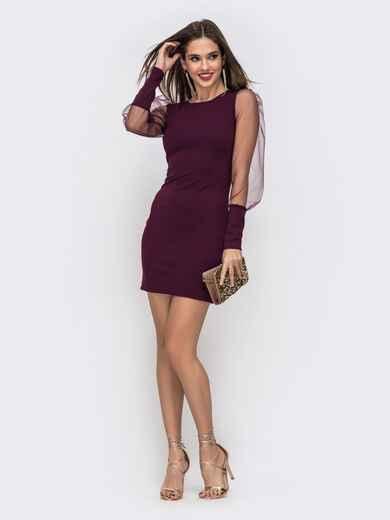 Платье мини с рукавами-буфами из сетки бордовое 42748, фото 1