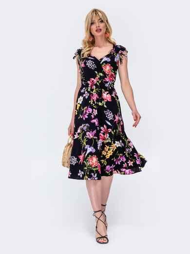 Платье с принтом и фигурным вырезом чёрное 48410, фото 1