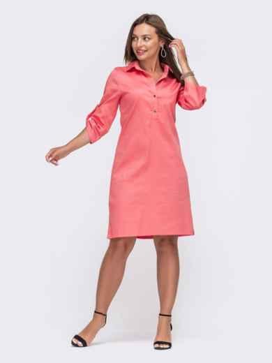 Коралловое платье-рубашка со шлевками на рукавах 49475, фото 2