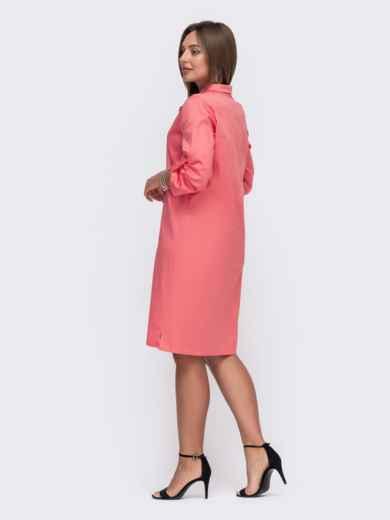 Коралловое платье-рубашка со шлевками на рукавах 49475, фото 3