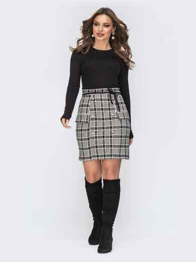 Чёрное платье с серой юбкой в клетку 44187, фото 1