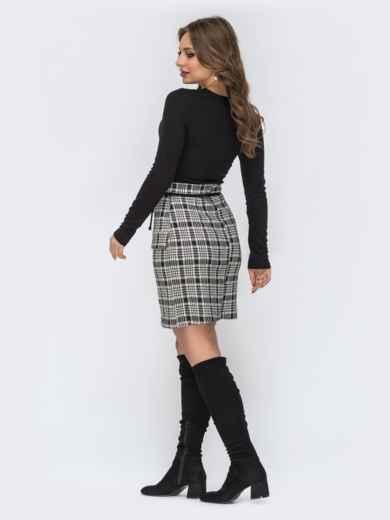 Чёрное платье с серой юбкой в клетку 44187, фото 3