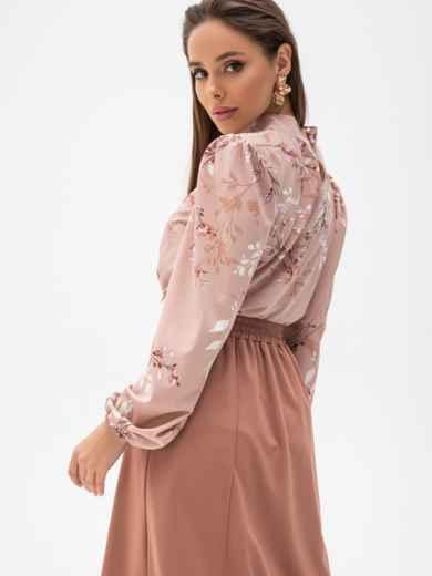 Блузка прямого кроя с принтом и воротником-стойкой пудровая 51242, фото 3