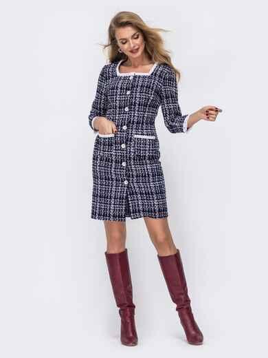 Чёрное платье-пиджак из твида с контрастной окантовкой 42805, фото 1