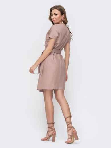 Льняное платье на запах с рюшей по вырезу бежевое 46689, фото 2