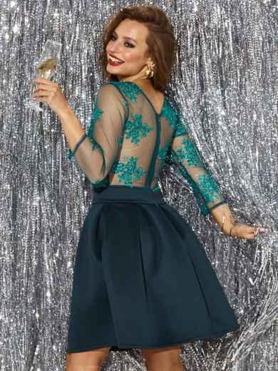 Платье с кружевным верхом и расклешенной юбкой зеленое 42892, фото 3