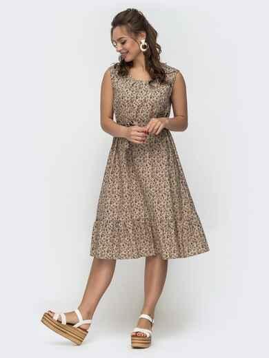 Платье свободного кроя из принтованного льна бежевое 46692, фото 1