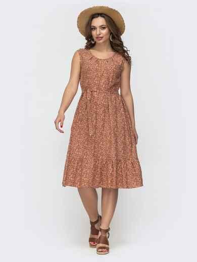 Платье свободного кроя из принтованного льна терракотовое 46693, фото 1