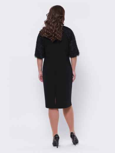 "Чёрное платье батал с рукавом ""реглан"" 44095, фото 2"