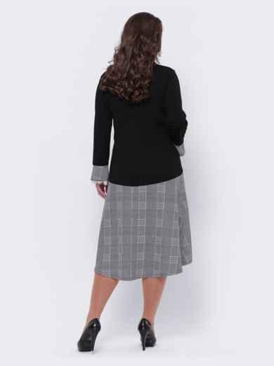Свободное платье большого размера в клетку чёрное 44103, фото 2