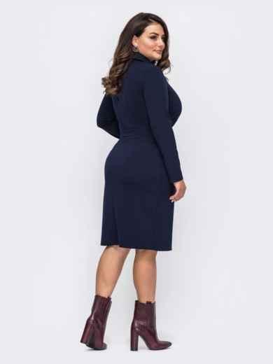 Тёмно-синее платье-рубашка большого размера 51517, фото 2