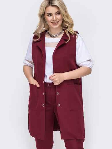 Удлиненный жилет большо размера бордовый - 49908, фото 1 – интернет-магазин Dressa