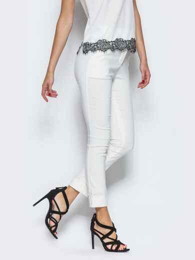 Белые брюки из бенгалина с подворотом 12782, фото 1