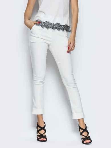 Белые брюки из бенгалина с подворотом 12782, фото 2