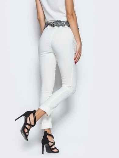 Белые брюки из бенгалина с подворотом 12782, фото 3