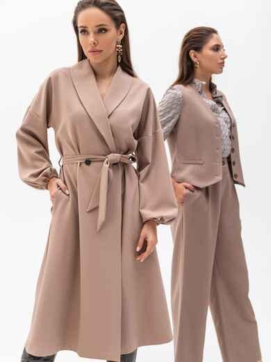 Свободное платье-пиджак с шалевым воротником бежевое 51363, фото 1