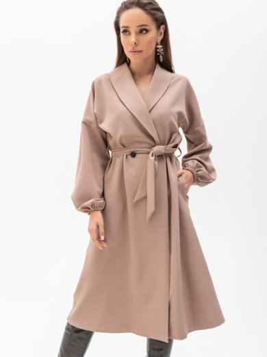 Свободное платье-пиджак с шалевым воротником бежевое 51363, фото 2