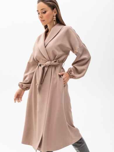 Свободное платье-пиджак с шалевым воротником бежевое 51363, фото 3