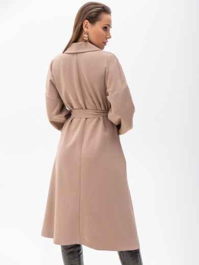 Свободное платье-пиджак с шалевым воротником бежевое 51363, фото 4