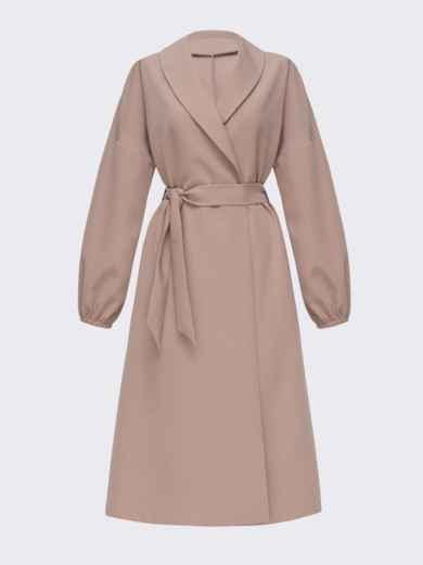 Свободное платье-пиджак с шалевым воротником бежевое 51363, фото 5