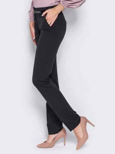 Брюки из костюмной ткани с карманами-обманками черные 23020, фото 2