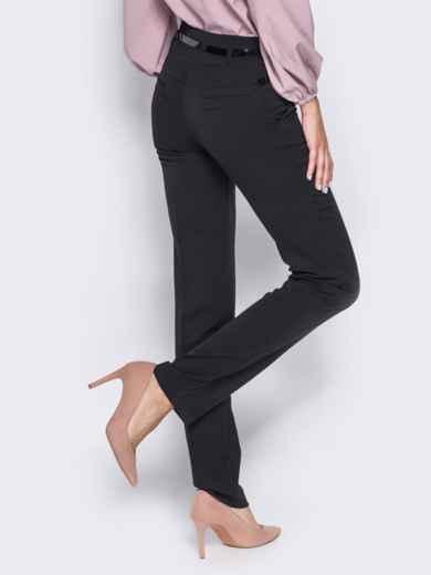 Брюки из костюмной ткани с карманами-обманками черные 23020, фото 3